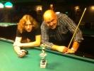 zleva Libor Břicháček a Láďa Janeček po billiardovém kulečníkovém turnaji v Harlequinu Praha 10