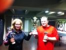Vítězivé v turnaji ping pongu, Jitka Asterová a Ivan Courton v kulečníkovém billiardovém klubu Harlequin Praha