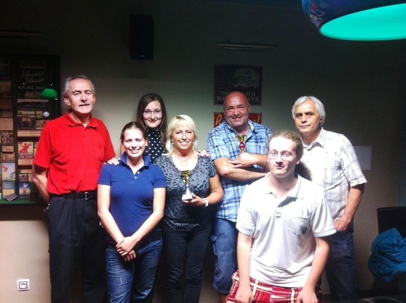 Zleva Záškoda, Pilařová, Lázníková, Hubrtová, Janeček, Foršt, Vích billiard - kulečník - ping pong Praha 10
