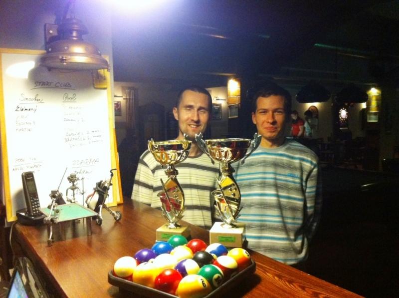 Vítězové nováčkovského turnaje Tomáš Pachner a Aleš Pajma,billiardový klub Harlequin Praha